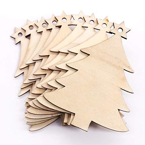 WWLIN 10 unids/Set muñeco de Nieve de Madera Natural árbol de Navidad Adornos ColgantesDIY Colgante Decorativo Fiesta en casa Regalos Suministros
