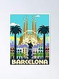 AZSTEEL Póster vintage de Barcelona España para viajes y turismo publicitario, el mejor regalo de 29,7 x 41,9 cm para amigos y familia