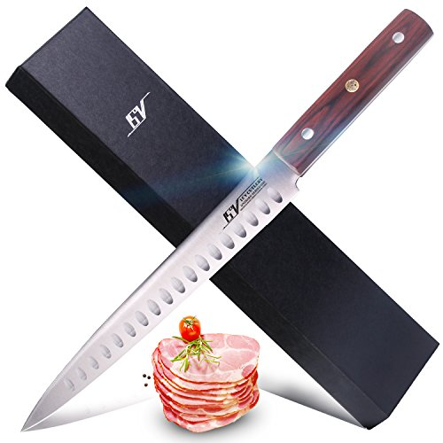 Carving Slicing Knife - High Carbon German 1.4116 Stainless Steel - Full Tang Hollow Edge Carving Slicer Knife with Ergonomic Pakkawood Handle - ONIMARU Series - 9'' …