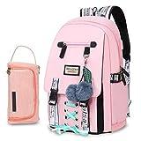 Bevalsa Schulrucksack mit Federmäppchen Schultaschen-Set für Mädchen Teenager Damen Schulranzen Modisch Rucksack Campus Laptop Backpack 20L Nylon Wasserdicht Daypack (Rosa)