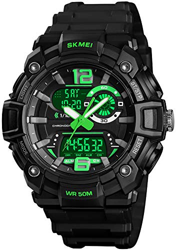Mens Analog Digital Sports Watches Military Multifunction 3 Time Alarm Stopwatch Countdown 12H/24H Time Backlight 164FT 50M Waterproof Watch