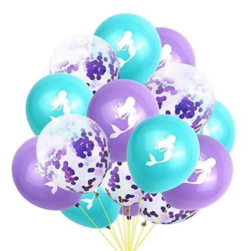 Amosfun 15 stücke Latex Ballons meerjungfrau Ballons konfetti transparente Luftballons Set Geburtstag Hochzeit Party dekorieren