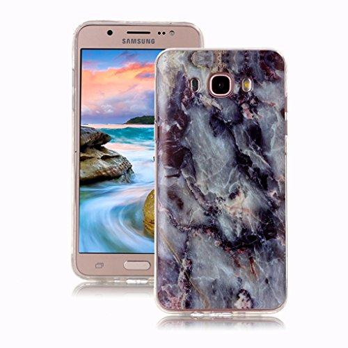 Yunbaoz Funda para Samsung Galaxy J5 2016 Mármol, Diseño Mármol Carcasa Suave TPU Silicona Marble Case Suitable for Samsung Galaxy J5 2016 - Gris
