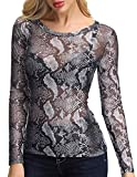 ZANZEA Camisetas Transparente para Mujer Leopardo Top Sexy de Manga Larga con Cuello en v para Mujer Túnica Tops Blusa Camisa de Fiesta 006-Grey 6580 42