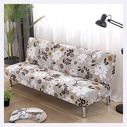 DGSGBAS Futón Couch Protector para Sofa Fundas para Sofa Cama Sin Brazos 3/2 Plazas Elastica Flores Funda De Sofa Ajustable Clic Clac Funda Sofa Cubre Sofa Verano Gatos Perros Cama
