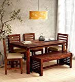 Sarswati Furniture Sheesham Wood Dining Table 6 Seater | Wooden Dinning Room Furniture | 4 Chair & 2 Seater Bench with Cushions | 1 Table | Balcony Dining Set | Honey Finish