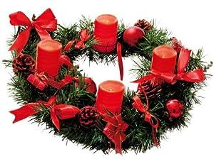 Best Season Adventskranz mit 4 Wachs-LED-Kerzen, Durchmesser circa 40 cm, warm weiß LED, batteriebetrieben inklusiv Batterien, Sichtkarton, rot / gold Dekoration 004-53