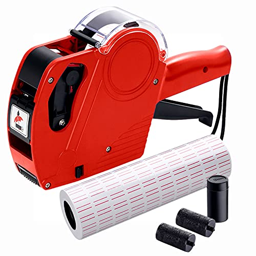 MX5500 Pricing Tag Gun with 5150 pcs White Label Gun Stickers & 3 Extra Inker Rollers, Pricing Label Gun, 8 Digits Retail Pricing Gun and Labels for Grocery Store, Food (Red)