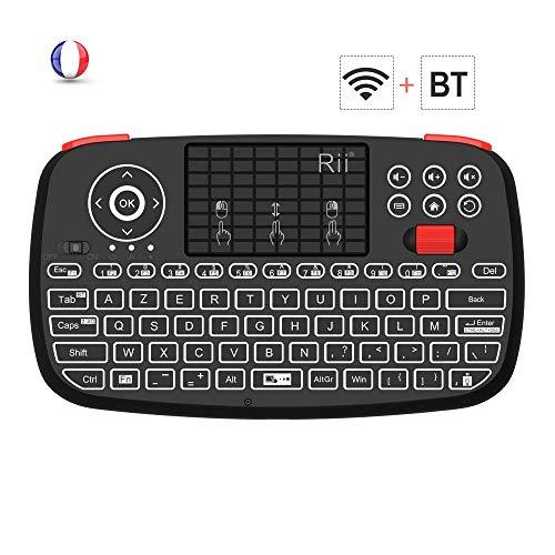 Rii I4: Mini Clavier sans Fil, 2 en 1 (Bluetooth et Wireless 2.4 ghz), Azerty, Rétro-Éclairé,Touchpad, pour iOS, Android, Android Box, Smartphone, Ps4, Xbox, Apple TV, Tablet, Consoles, Pc