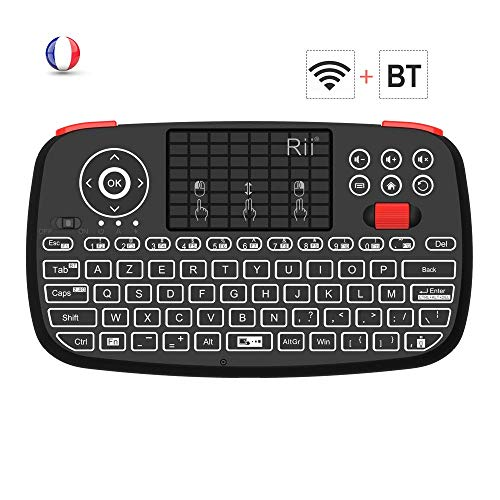 (Nuevo) Rii i4: Mini Teclado inalámbrico, 2 en 1 (Bluetooth & Wireless de 2.4 GHz), AZERTY, Retroiluminado, TouchPad, para iOS, Android Box, Smartphone, PS4, Xbox, Apple TV, Tableta, Consola PC