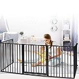 Barrera de Seguridad,Barrera Seguridad Niños Para Chimenea Leña,310×75cm Protectores Para Chimeneas,5 Paneles Valla Seguridad Infantil Escalera,Puertas Para Perros, Guardia De Seguridad Para Bebés