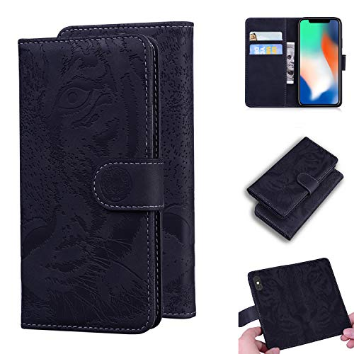 TTUDR iPhone XS/iPhone X Premium Leder Flip Schutzhülle [Standfunktion] [Kartenfächer] [Magnetverschluss] lederhülle klapphülle für Apple iPhone XS/X - TTTX020054 Schwarz
