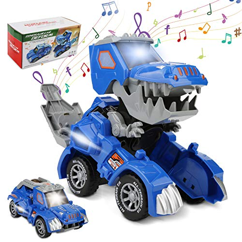 Rusee Transforming Dinosaur Toys, Transform Cars Toy with Music and LED Light, Automatic Transforming Dinosaur Car, Dino Transform Cars for Kids Boys Girls Birthday Gifts (Blue)