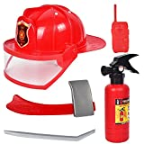 Isuper 5- Teiliges Feuerwehrmann Rucksack Feueranzug Werkzeug Feuerlöscher Helm für Kinder Rollenspiel Spielzeug