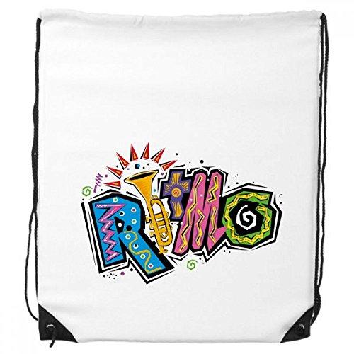 Mexiko Kultur Elment viele Farben Ritmo Slogan Kordelzug Rucksack feine Linien Shopping Handtasche Kreatives Geschenk Schulter Umweltfreundliche Tasche aus Polyester