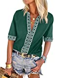 Chase Secret Women's Ladies Tops Sexy Elegant Bohemian Embroidered Long Sleeve V Neck T-Shirts Casual Loose Blouse Green Medium