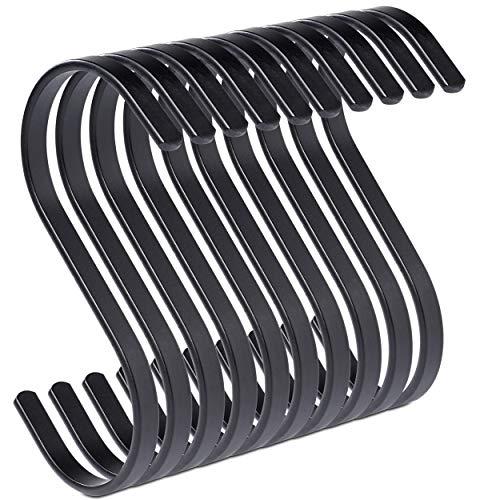 PAMO S Haken schwarz matt aus Metall - 10er Set - Küchenhaken aus Edelstahl zum Aufhängen von Pfannen in der Küche oder Kleidung an der Kleiderstange S-Haken Stahl rostfrei (10, schwarz)