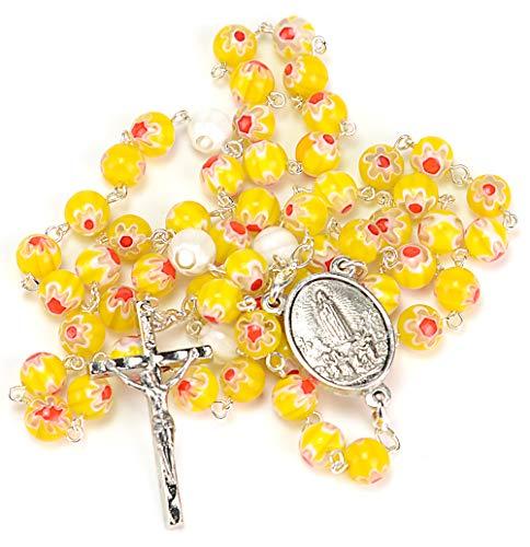 Fatima, rosario religioso in vetro di Murano giallo vergine con bracciale Millefiori in coordinato e sacchetto di lino, rosario cattolico convertibile in ciondolo o collana Fatima Murano giallo VF