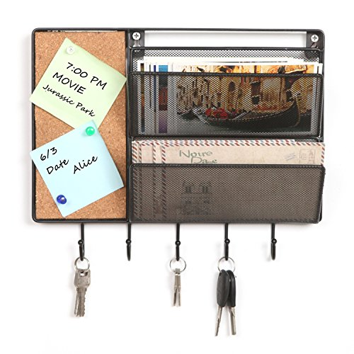 MyGift 12-Inch Black Mesh Metal Wall Mounted Storage Rack/Hanging Mail Sorter w/Cork Board & 5 Key Hooks