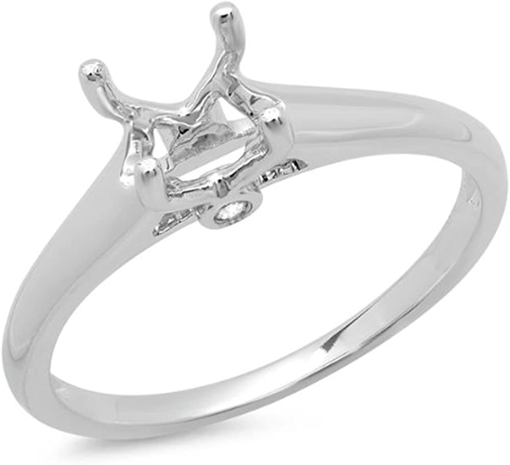 Dazzlingrock Collection 0.05 Carat (ctw) 14K Gold Round Diamond Ladies Engagement Semi-Mount Ring (No Center Stone)