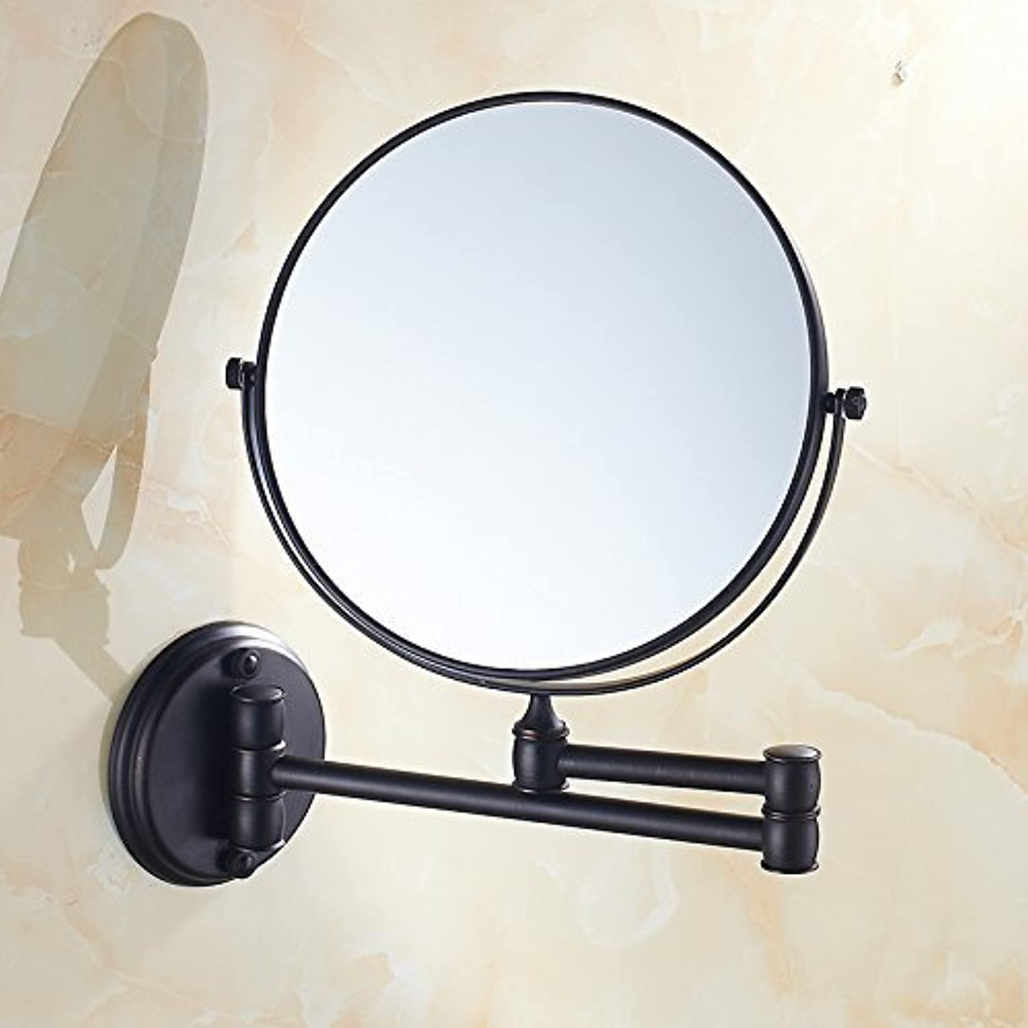 Bathroom Bathroom Mirror LED Light gold Folding Mirror with Dual face Former Mirror of The Expansion, 8-inch Black,Antique Furniture