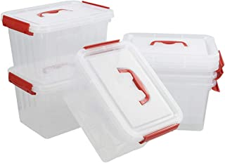 Kiddream Set of 6 Clear Latch Boxes, 6 Quart Plastic Storage Bins with Red Handle