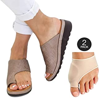 Womens Fashion Flats Wedges Comfy Platform Sandal Shoes Summer Open Toe Ankle Casual Shoes Roman Slippers Toe Ring Slippers Flip Flops with Thumb Valgus Corrector