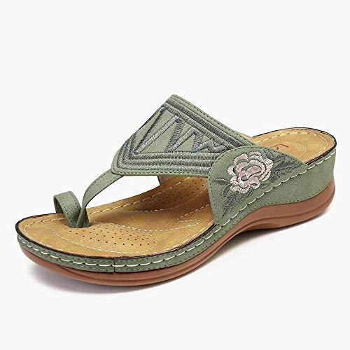 Chanclas unisex para adultos, sandalias bordadas, color azul marino_39, sandalias ergonómicas de dedo del pie fangkai77