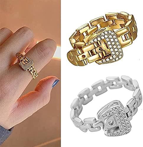 Anillo de hebilla de correa de plata esterlina, anillos de circón con hebilla de cinturón ajustable de moda, anillos de banda de cristal de cadena suave de metal desmontable para mujeres y hombres