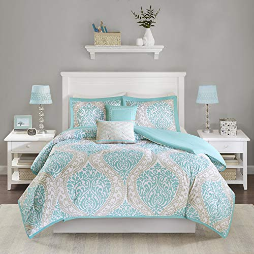 Intelligent Design Senna Comforter Set Twin/Twin XL Size - Aqua Blue/Gray, Damask – 4 Piece Bed Sets – All Season Ultra Soft Microfiber Teen Bedding - Great For Dorm Room and Girls Bedroom