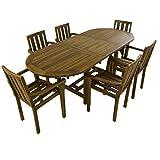 Conjunto de jardín de Madera Teca, Mesa Ovalada Extensible 160/210 cm y 6 sillones apilables, Madera Teca Grado A, Tratamiento al Agua aplicado