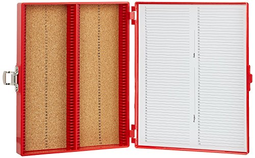 Heathrow Scientific HD15994C Red Cork Lined 100 Place Microscope Slide Box, 8.25' Length x 7' Width x 1.3' Height