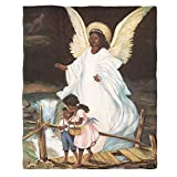 Moslion Soft Cozy Throw Blanket Guardian Angel with Children On Bridge African American Fuzzy Warm Couch/Bed Blanket for Adult/Youth Polyester 50 X 60 Inches(Home/Travel/Camping Applicable)