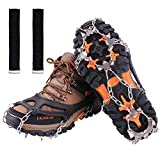 Crampons,Ice Snow Grips,19 Teeth Walk Traction Ice Cleat Spikes,True Stainless Steel Spikes And