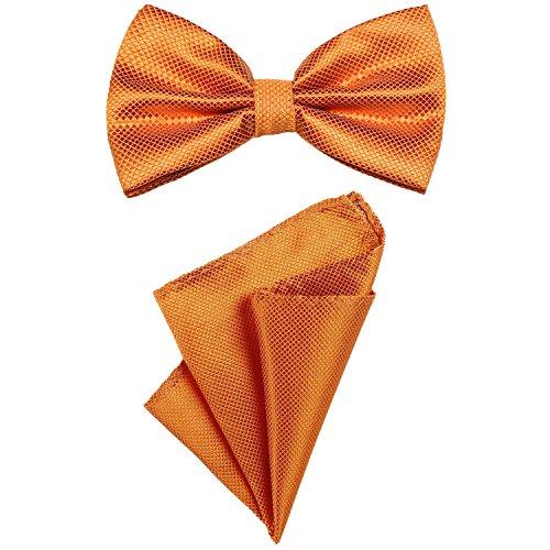 DonDon 2er Set Herren Fliege und Einstecktuch farblich passend gebunden und größenverstellbar orange