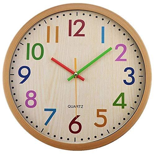 hufeng Reloj de pared silencioso para niños, sin tictac, funciona con pilas, colorido decorativo para niños, guardería, dormitorio, escuela, color
