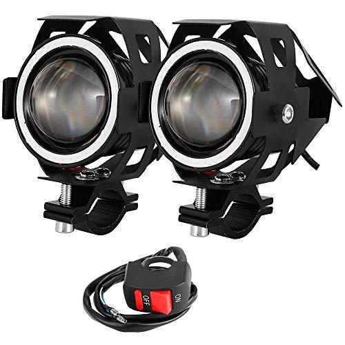 2 PCS Fari Moto Faretto Anteriore CREE U7 LED 4000 LM con Interruttore On Off Fanale Lampada Universale Impermeabile 3 Modalità per Moto Scooter Auto Bici Camion Barca (Blu)