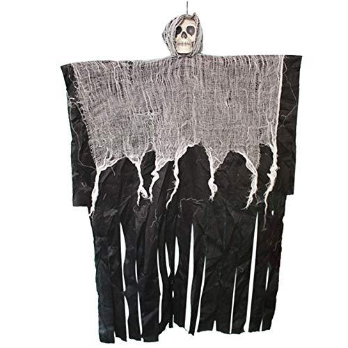 moinkerinCráneo Esqueleto Colgante, Halloween Decoración Terror Exterior para Al Aire Libre Interior Jardín Patio Partido Árbol Ventana