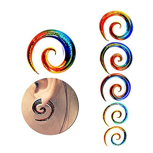 WOERD Expansor Oreja Espiral, Pendientes Expansores Tipo Plug de Espirales, Caracol Pendientes Set Piercing Túnel Tunnel Expansión 4g - 1/2'