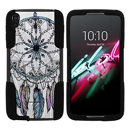 TurtleArmor | Compatible with Alcatel One Touch Idol 3 Case (5.5) [Gel Max] Hybrid Dual Layer Hard Shell Kickstand Silicone Case - Dreamcatcher Feathers