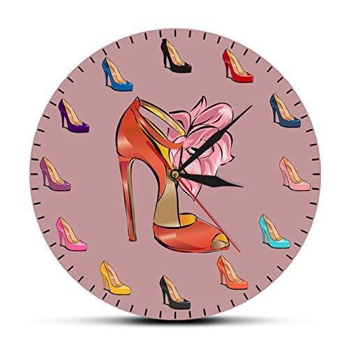 Reloj de Pared, Zapatos de Mujer, Reloj de Pared Femenino, Zapatos de tacón Alto, Tienda de Mareas, decoración artística de Moda, Reloj de Pared para habitación de niña, Regalo de Zapatero