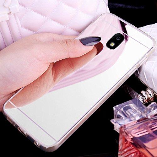 Uposao Kompatibel mit Galaxy J3 2017 Spiegelhülle Mirror Case Hülle Transparent Crystal Clear Ultra Dünn Durchsichtige Silikon Schutzhülle TPU Case Bumper Cover,Silber