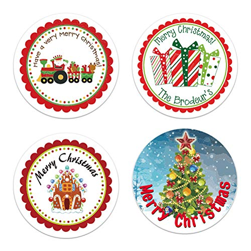 "PUPPY GO Christmas Stickers, 500 PCS 1.5"" Merry Christmas Labels, Round Roll Self Adhesive Seals for Xmas Favor Gift Cards Envelopes"