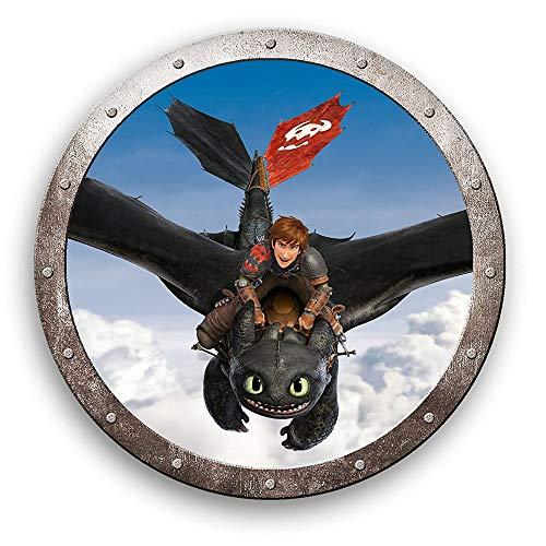 Dragons Drachenflug | DreamWorks Rund 36 cm | Kinder Kissen | Dekokissen