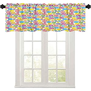 Crib Bedding And Baby Bedding Short Straight Drape Valance, Circular Shaped Buttons Pattern In Various Sizes Artistic Kids Nursery Baby Print, 50&Quot; W X 18&Quot; L Curtain Valance Window Treatment For Living Room, Multicolor
