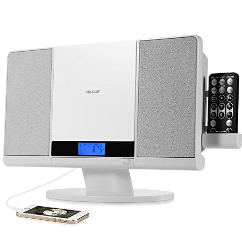 CD Player,VELOUR Stereo System Slim Boombox with USB SD FM Radio Clock Aux-in and Headphone Jack White