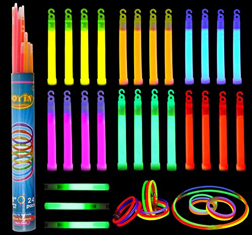 """Glow Sticks Bulk 52 Pieces Including 28 6"""" Long 0.6"""" Extra Thick Industrial Grade Glowsticks Emergency (3 in Whistle Shape) and 24 8"""" Long Glow Stick Bracelets for July 4th Party Halloween Party"""
