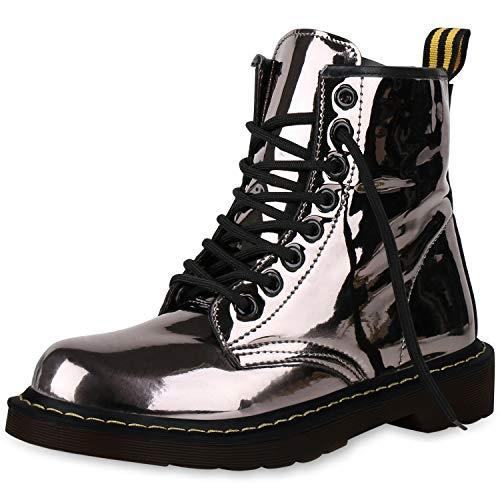 SCARPE VITA Damen Stiefeletten Worker Boots Metallic Schnürstiefel Outdoor 164171 Grau Metallic 40