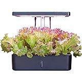 Hidroponía Cultivo y Kit Sistema de jardinería de interiores, Smart Plant LED de Cultivo Kits de germinación for la cocina casera plantación (12 potes de nutrientes y semillas no incluidas) negro YZPF