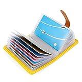 10 Farben Kreditkartenetui Damen Herren Kartenetui Leder - 26 Karten (Gelb)